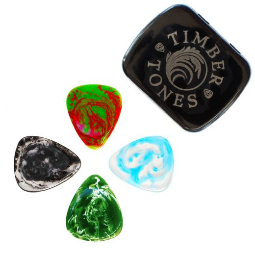 Resin Tones Mixed Tin of 4 Guitar Picks